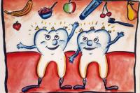 Der Zahnarzt konnte die Löcher füllen und die Zähne freuen sich über zuckerarme Kost und regelmäßiges, gründliches Putzen nach der KAI-Methode (Kauflächen, Außenseiten, Innenseiten).